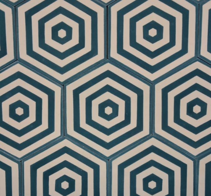 Cementtegel Carreauxciment Cementtile Modern Hexagone Bleu 20